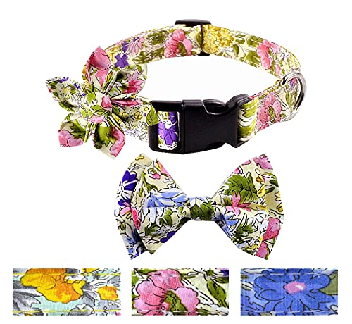Moonpet Dog Collars with Replaceable Bow Tie &Flower – Adjustable Floral Pattern Dog Collars for Girl Female Small…