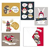 Health & Personal Care : Woodland Animals Holiday Card Pack - Set of 36 cards - 6 of each design, versed inside with envelopes