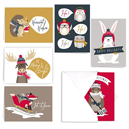 Woodland Animals Holiday Card Pack - Set of 36 cards - 6 of each design, versed inside with envelopes Photo #6