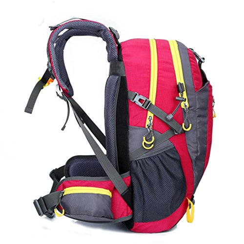 36-55L Escalada Mochila Oxford Impermeable Ligero Mochila de senderismo Camping Riding paquete hombros paquete para hombres y mujeres W30 x H52 x T20 CM , Blue rose red