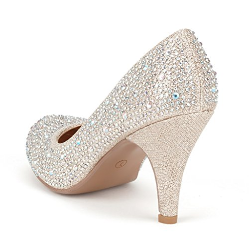 DREAM PAIRS ARPEL/BERRY Womens Formal Evening Dance Rhinestones Classic Low Heel Pumps Shoes New S-arpel-gold Glitter oontZQ