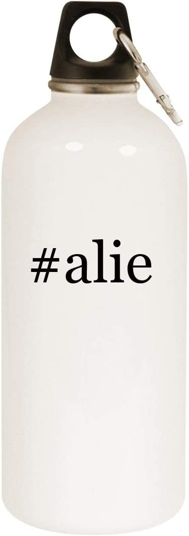 #alie - 20oz Hashtag Stainless Steel White Water Bottle with Carabiner, White 512BCAeCo37L