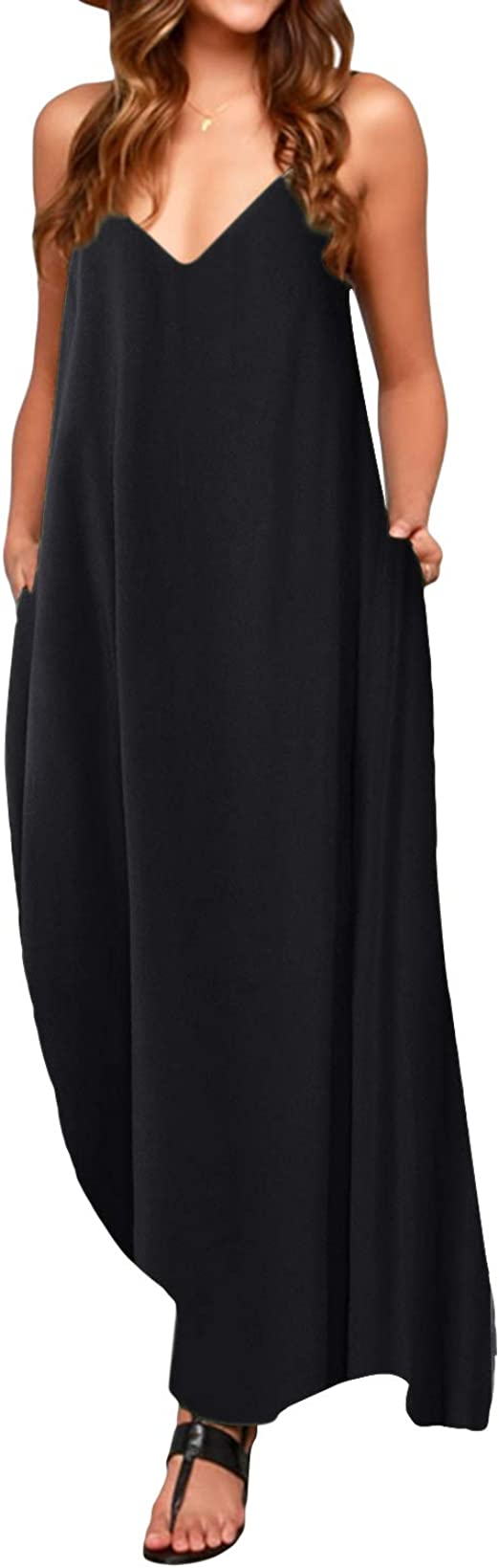 TALLA L. ACHIOOWA Mujer Vestido Elegante Casual Dress Cuello V Sin Manga Playa Tirantes Bolsillos Punto Falda Larga Negro