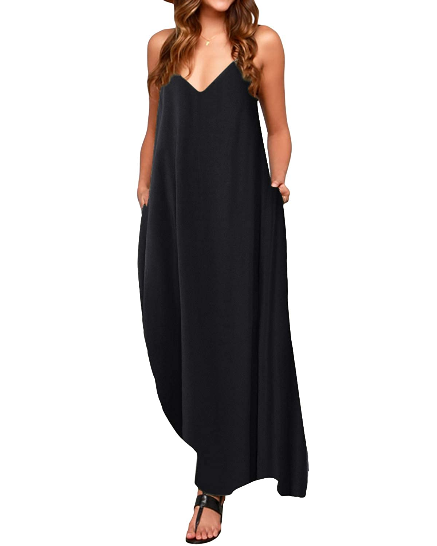 TALLA M. ACHIOOWA Mujer Vestido Elegante Casual Dress Cuello V Sin Manga Playa Tirantes Bolsillos Punto Falda Larga Negro