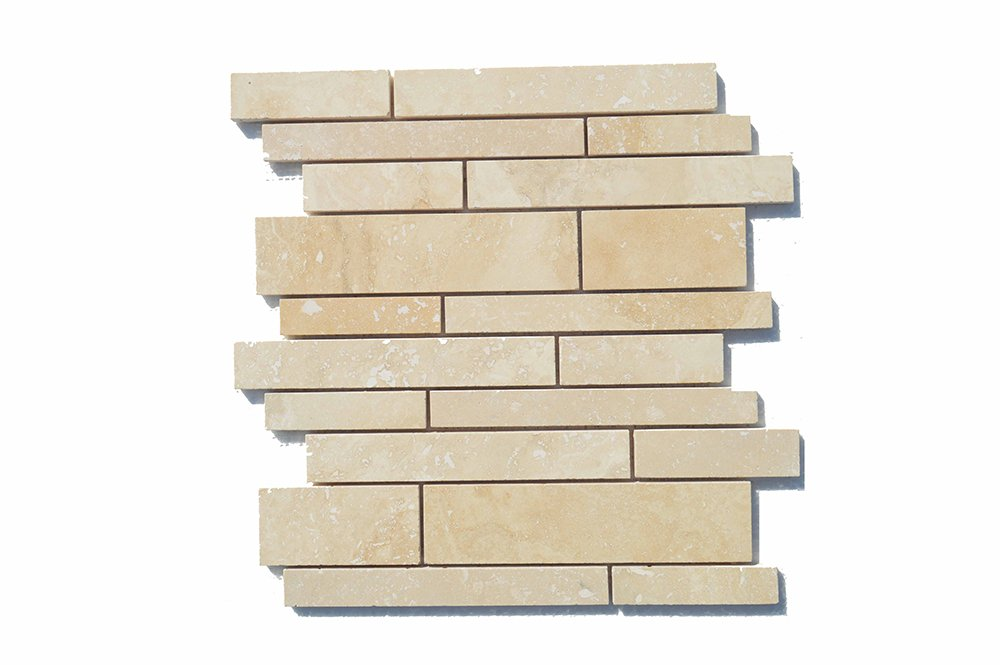 Bozbaylar Travertine Classic Filled and honed line Mosaic, Pack of 10, Item Number: BZ-CLSLINEH