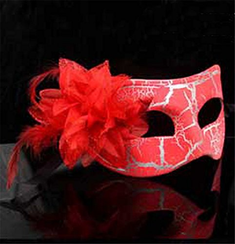 Face mask Shield Veil Guard Screen Domino False Front Halloween Party cos mask Makeup Dance Color Show mask Female Flat Cracked kadan Eye mask red -