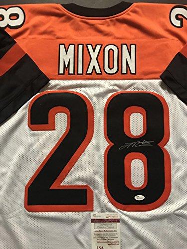 Autographed/Signed Joe Mixon Cincinnati White Football Jersey JSA COA Cincinnati Bengals Autographed Jerseys