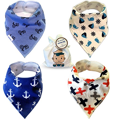 Baby Bandana Drool Bibs for Boys - Super Soft Absorbent Cotton - 2 Adjustable Snaps, Best Modern Bib Set and Boy Shower Gift From Tiny Captain