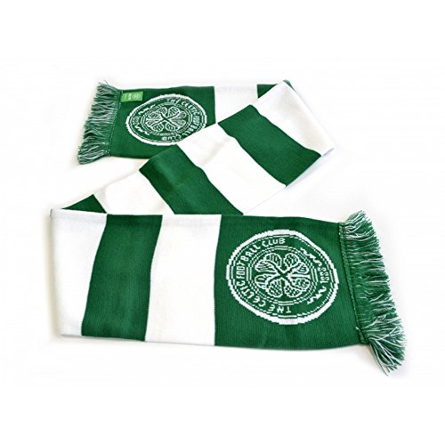 - Celtic FC Official Bar Jacquard Scarf (One Size) (Green/White)