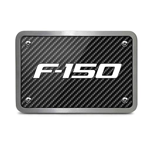 iPick Image Ford F-150 2009-2014 Black Carbon Fiber Texture Plate Billet Aluminum 2 inch Tow Hitch Cover, Made in USA