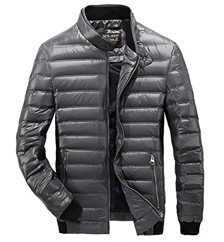 Men's High Quality Winter Warm Lightweight White Duck Down Coat Zipper Quilted Jacket Coats Outwear Tops Gray
