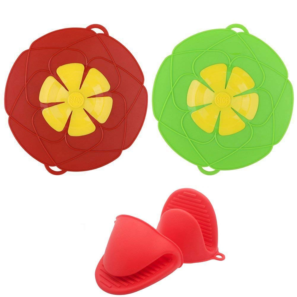 Silicone Spill Stopper, Boil Over Safeguard,Silicone Spill Stopper Pot Pan Lid Multi-Function Kitchen Tool with 1 Pair Silicone Cooking Pot Mitts