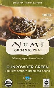 Numi Organic Tea Gunpowder Green, Full Leaf Green Tea, 18 Count non-GMO Tea Bags (Pack of 3)