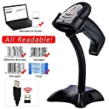Tera Barcode Scanner Wireless CCD Image Bar Code Reader 1D Barcodes Screen Bar Codes Smudged Damaged Barcodes Readable with Hands-Free Adjustable Stand