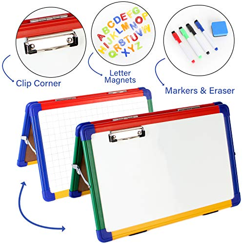 Desktop Kids - Ibex DryErase Desktop Whiteboard Easel: Double Sided, Foldable with Paper Clip - Includes 4 Color Markers, Eraser, Magnetic Letters - 12 x 18 Inches - Non Ghosting Magnetic Erasable Portable Tabletop
