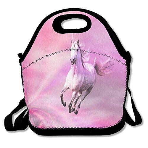 Unicorn Horse Funny Insulated Thermos Polyester Strap Women Men Kids Teen Girls Black Lunch Bag Tote Lunch Box Tote Bag For Travel Work