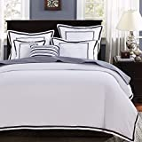 Mellanni Duvet Cover Set Hotel Collection - Double Brushed Microfiber 1800 Bedding - Wrinkle, Fade, Stain Resistant - Hypoallergenic - 3 Piece (King / Cal King, Hotel White With Gray Embroidery)
