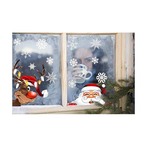 Yuson Girl Natale Addobbi Adesivi Decorazione Per Finestre Vetri-Autoadesive Smontabile Adesivo Fiocco di Neve Natale Porta Finestra Sticker Murale Decal per il Negozio al Dettaglio 5 spesavip