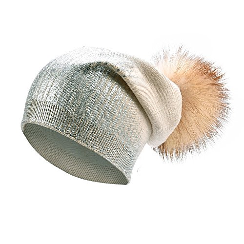 Womens Pom Pom Beanie for Winter Hats Real Fox Fur Slouchy Hat Sparkle Shiny