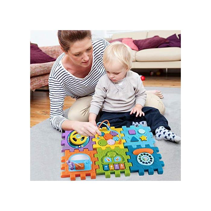 51%2BCC6BMHcL Juguete de Bebé Multipropósito 6 en 1: -Clasificador de formas, un piano multimodo, volante, juego de abrir puertas, juego de marcación números, engranajes y cuentas. Compre 1 juguete, su bebé podrá obtener más educación. Gran Regalo de Juguete Educativo para Niños- Este juguete es ideal para cumpleaños/Navidad de niños. Anime a su hijo a reconocer formas, colores y más a medida que desarrollan habilidades motoras y buena resolución de problemas. Su regalo reflexivo pondrá una gran sonrisa en un pequeña y bonita cara Creativo e Interactivo- Nuestros cubos de actividad son vibrantes con bonitos rostros de animales de dibujos animados que atraen la atención de los niños rápidamente y les agregan más diversión durante el tiempo de juego