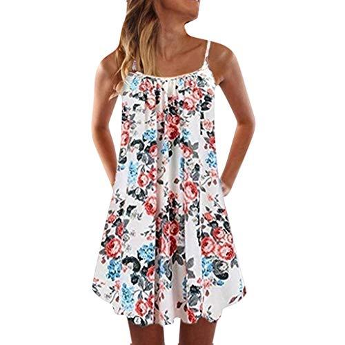 Summer Dresses for Women Off-Shoulder Strappy Mini Beach Dress Boho Floral Swing Tank Tops Short T-Shirt Dress (Marken Günstig Online)
