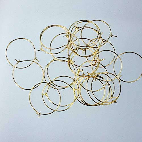 New Wholesale 100 pcs - 25mm 1 inch Gold Plated Wine Glass Hoops Simple Hoop earwires - Ship from California USA