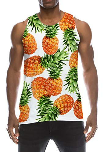 Lightweight Humor Explosions Tanks Top 1990s Decent Bodybuilding Vest Undershirt Yellow Orange Pineapple Mint Green Solid White Dumb Sleeveless Tees Jersey for Gym Raves Festivities Workout ()