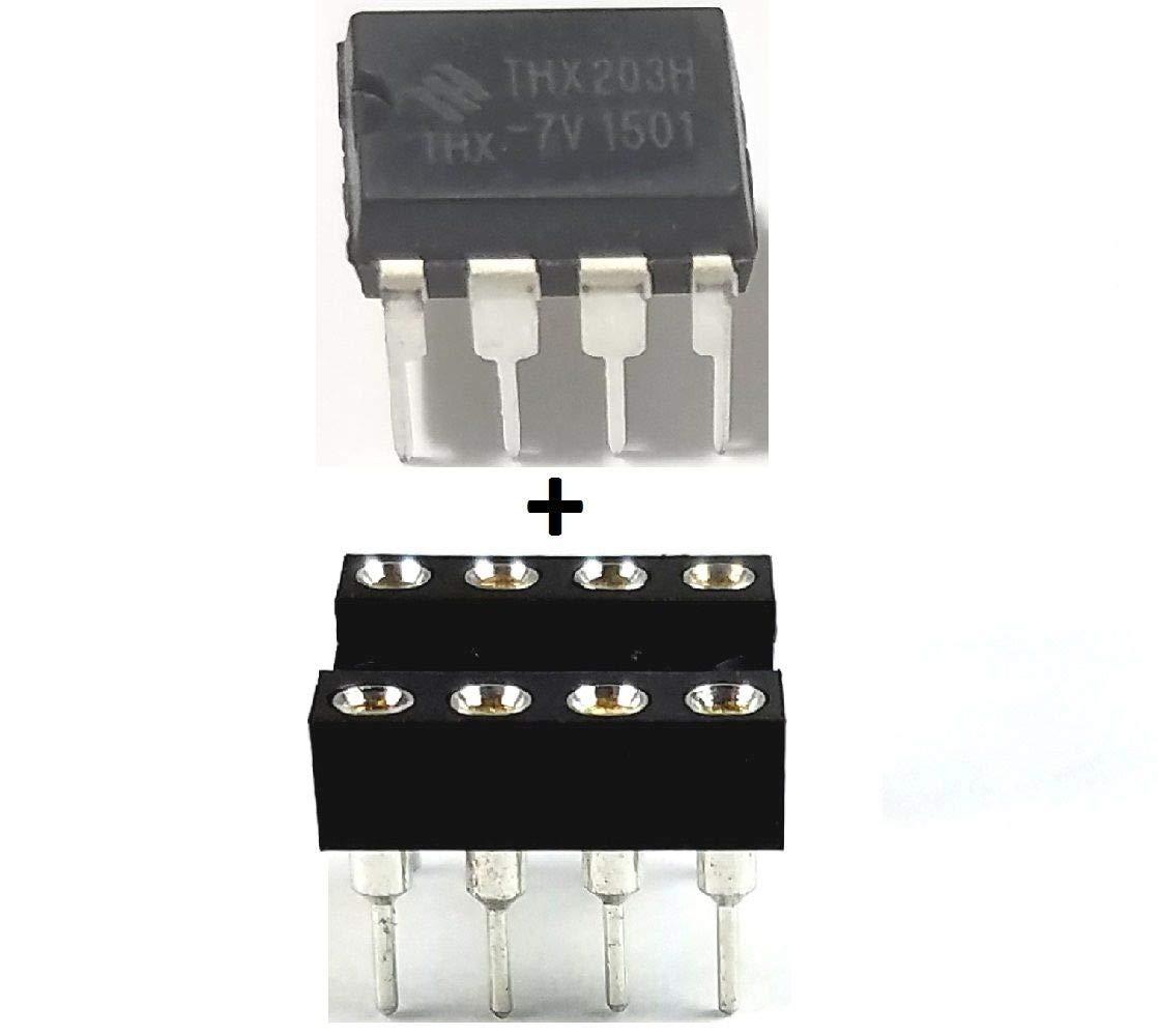 THX Micro Electronics THX203H -7V + Sockets Power Management PWM DIP-8 IC (Pack of 10)