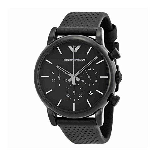 Emporio Armani Classic Chronograph Black Dial Black Leather Mens Watch AR1737 by Emporio Armani