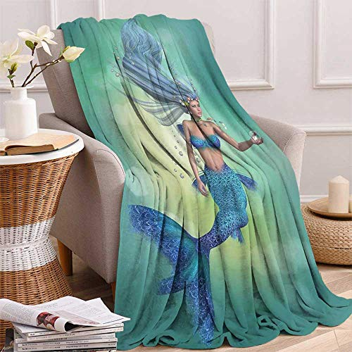 Mermaid Decor Warm Microfiber All Season Blanket Mermaid Upper Body of a Woman and The Tail of a Fish for Swimming Print Artwork Image ()