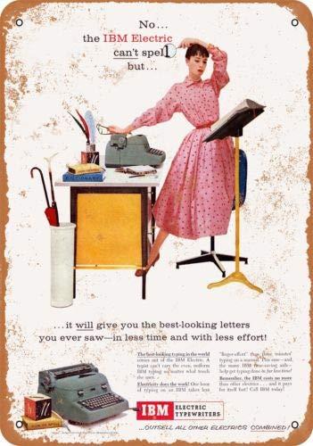 Metal-Signs 1956 IBM - Máquina de Escribir eléctrica (Aspecto Vintage)