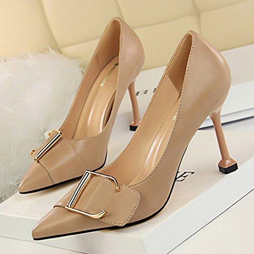 professionnelles long235mm ALUK chaussures L'Europe femmes des Unis 37 talons pour hauts chaussures taille à et les Abricot Couleur pointus Chaussures avec Noir États sexy Shoes qrqgWfT