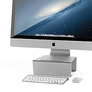 Satechi Premium Aluminum Monitor Stand V1.0 with 4 USB 3.0 Ports for iMac, Mac Mini, MacBook Pro, Air/Windows PC, Laptop, Desktop ((4 USB 3.0))
