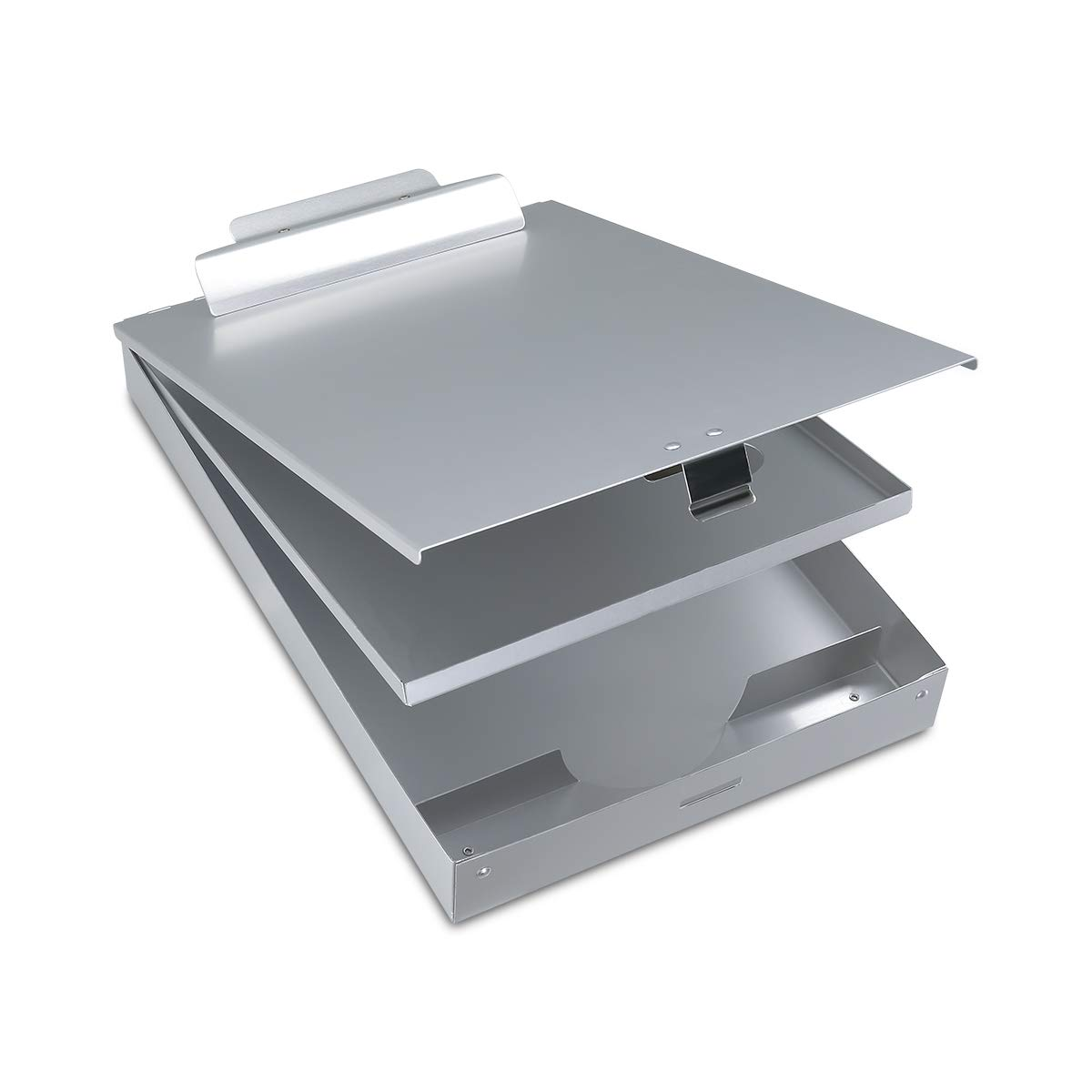 Metal Clipboard with Storage Box, Aluminum Clipboards with Metal Binder Snapak Form holder with Self-Locking Latch and Top Hinged Opening for Heavy Duty, Nursing, Patrol, Office Business Professionals