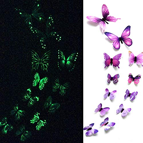 (eoorau 24Pcs Luminous Butterfly Wall Stickers - 3D Butterflies Wall Stickers Removable Mural Decor Wall Stickers Decals Wall Decor Home Decor Kids Room Bedroom Decor Living Room Decor (Purple))