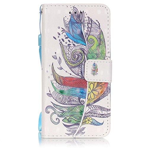 Funda iPhone 6 Plus Cáscara Samsung iPhone 6 Plus, Alfort Casco de Protección PU + TPU Carcasa del teléfono con una función de Soporte y la Cartera La alta calidad de la caja del Cuero Suave ( Pluma ) Plumas de Colores