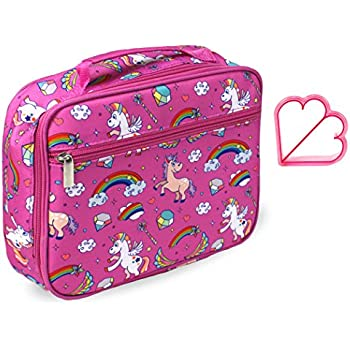Keeli Kids Lunch Box Pink Unicorn with Pink Sandwich Cutter in Unicorn Pink