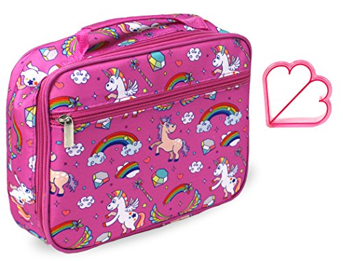 Keeli Kid's Lunch Box Pink Unicorn with Pink Sandwich Cutter in Unicorn Pink