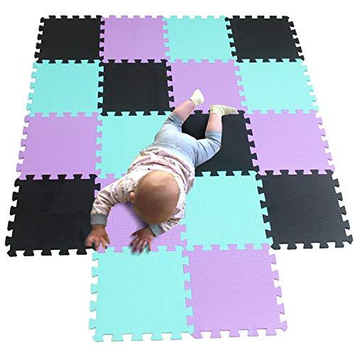 MQIAOHAM Interlocking Floor Mat 30 x 30 x 1cm EVA Foam Puzzle Tiles,Protection Mats,Children's Soft Foam Eva Play Mats for Gym , Play Area , Exercise , Yoga Black Green Purple 104108111 (Puzzle Floor Princess Mat)