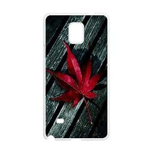 Dustin rojo en madera de la hoja de arce para Samsung Galaxy Note 4, blanco