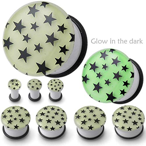 1 Pair 0 gauges 0g 0 G 8mm Star Glow in the dark plug Flesh Tunnel Stretchers Expanders Earlets Ear plugs