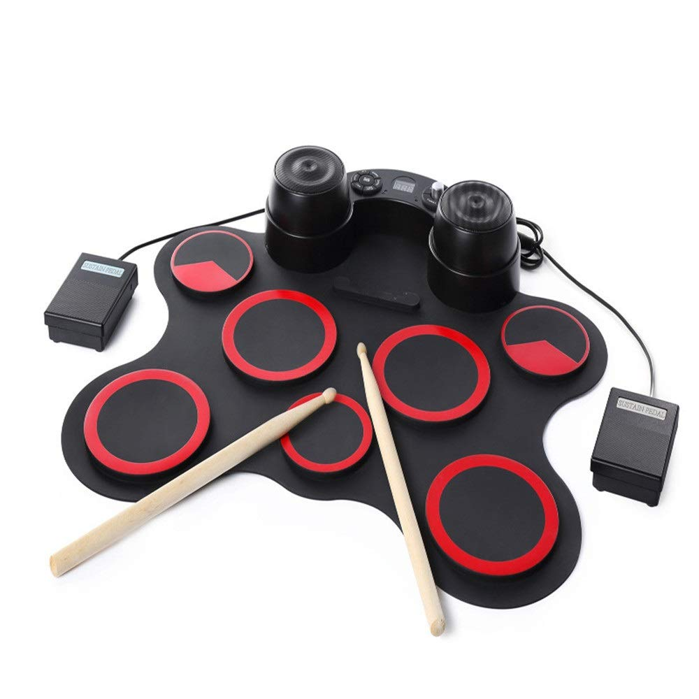 Electronic Roll Up MIDI Drum Kit Practice Electronic Drum Set With Headphone Jack MIDI Portable Roll Up Drum Kit 7 Silicon Pad Built-in Stereo Speaker Support Pedal Drum Record Playback Function Child by Xiejuanjuan