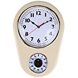 Lily's Home Vintage Ivory Cream Retro Wall Clock & Kitchen Timer (Small Image)