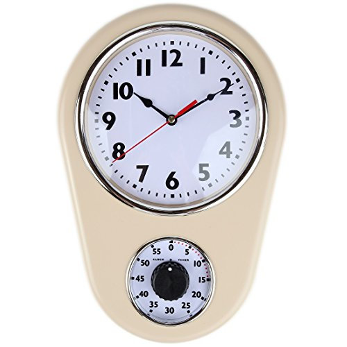 Retro Kitchen Timer Wall Clock. By Lily's Home (Ivory)