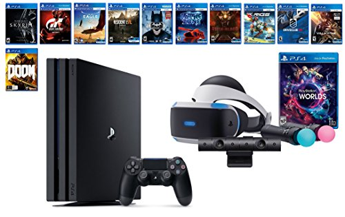PlayStation VR Deluxe Collection Bundle (14 Items): VR Starter Bundle, PS4 Pro 1TB,12 VR Game Disc: Rush of Blood,Valkyrie,Battlezone,Batman,DriveClub,Eagle, RIGS,Resident Evil 7:Biohazard and more by Sony VR