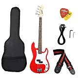 ammoon I2025R Electric Bass Guitar PB Style Basswood Body Rosewood Fingerboard with Gig Bag Strap Cable Pickups