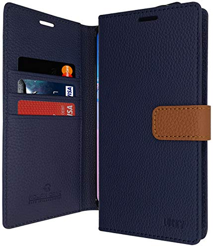 Galaxy Note 5 Case, Qoosan PU Leather Wallet Case [Kickstand Function] Flip Cover with Card Holder & Magnetic Closure for Samsung Galaxy Note 5 - Navy Blue (Samsung Galaxy Note 5 Best Price)