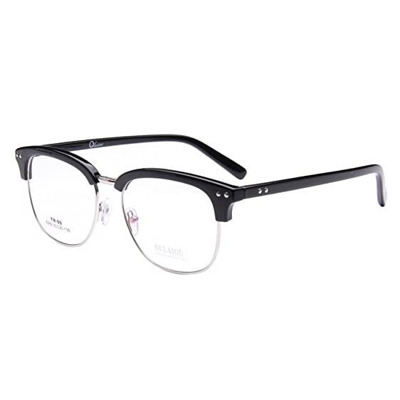 Amazon.com: Simvey Vintage Inspired Classic Half Frame Horn Rimmed ...