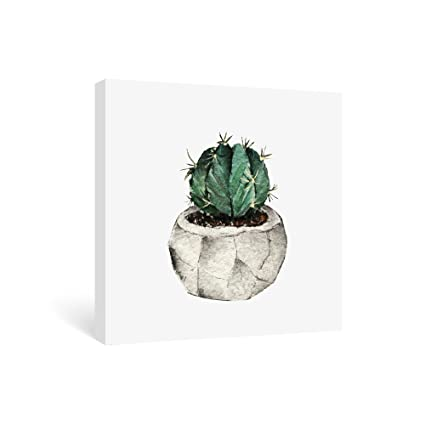 Amazon.com: SUMGAR Watercolor Cactus Canvas Artwork Wall Decor Green ...