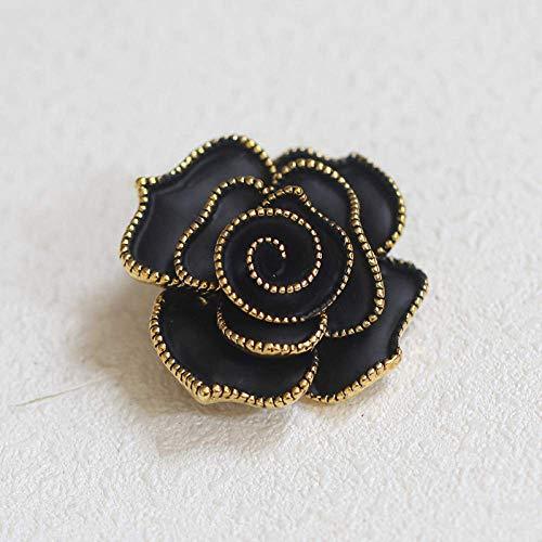 LanDream Wedding Brooch, Brooch Retro Black Rose Brooch Simple Temperament Brooch Pin Women's Money
